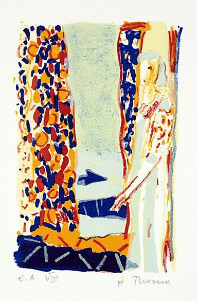 Uten tittel, kolorert litografi, 15 x 9,5 cm.