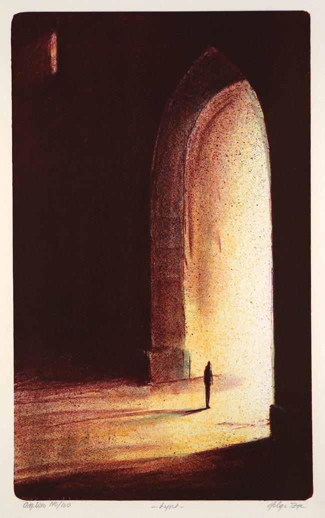 """Lyset"", litografi 43 x 36 cm."