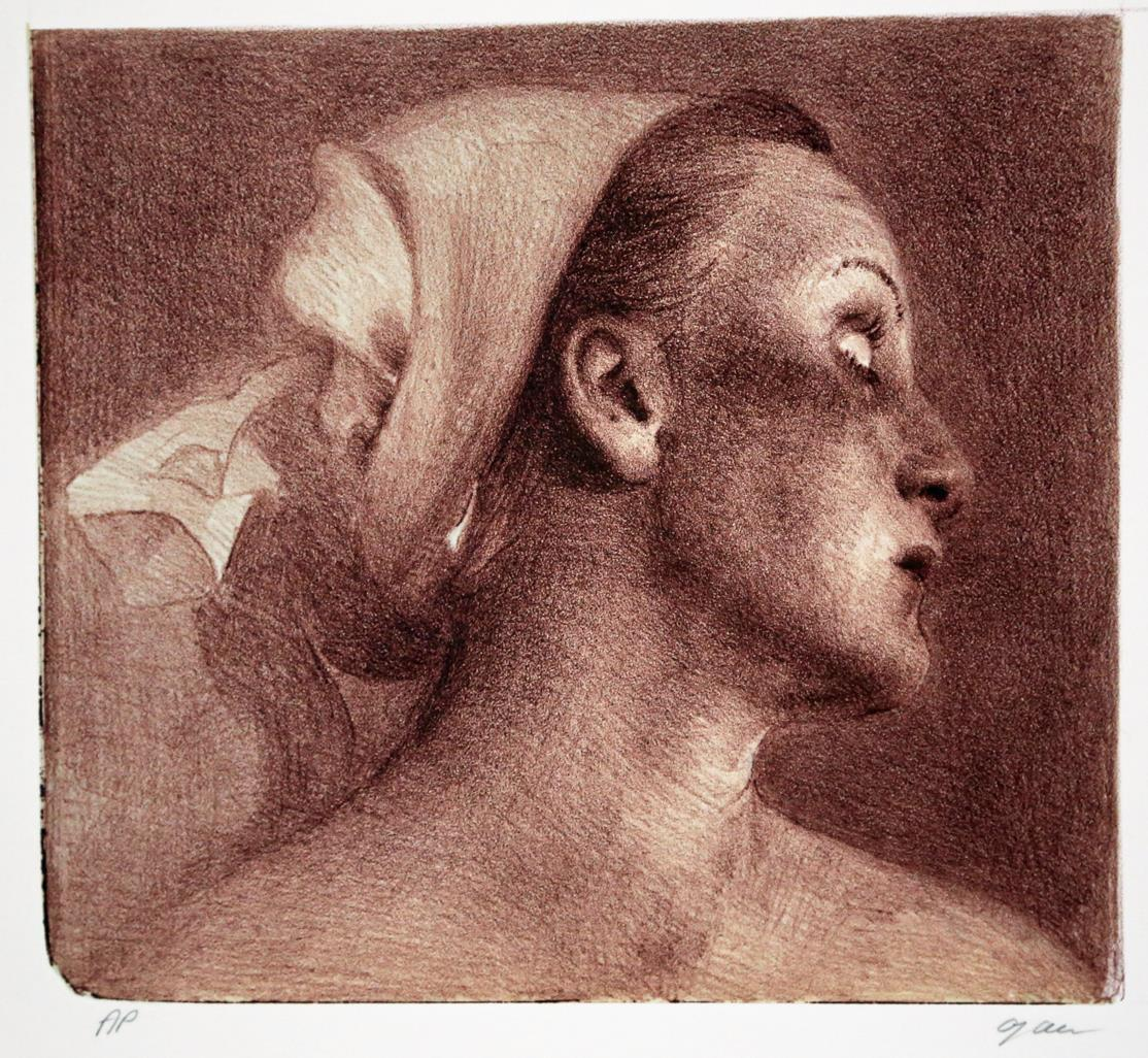 Kvinne, litografi 22,5 x 25 cm.