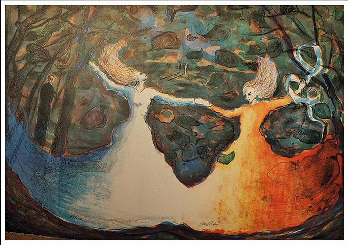 """""""Dansende kvinner"""", litografi, 45 x 60 cm."""