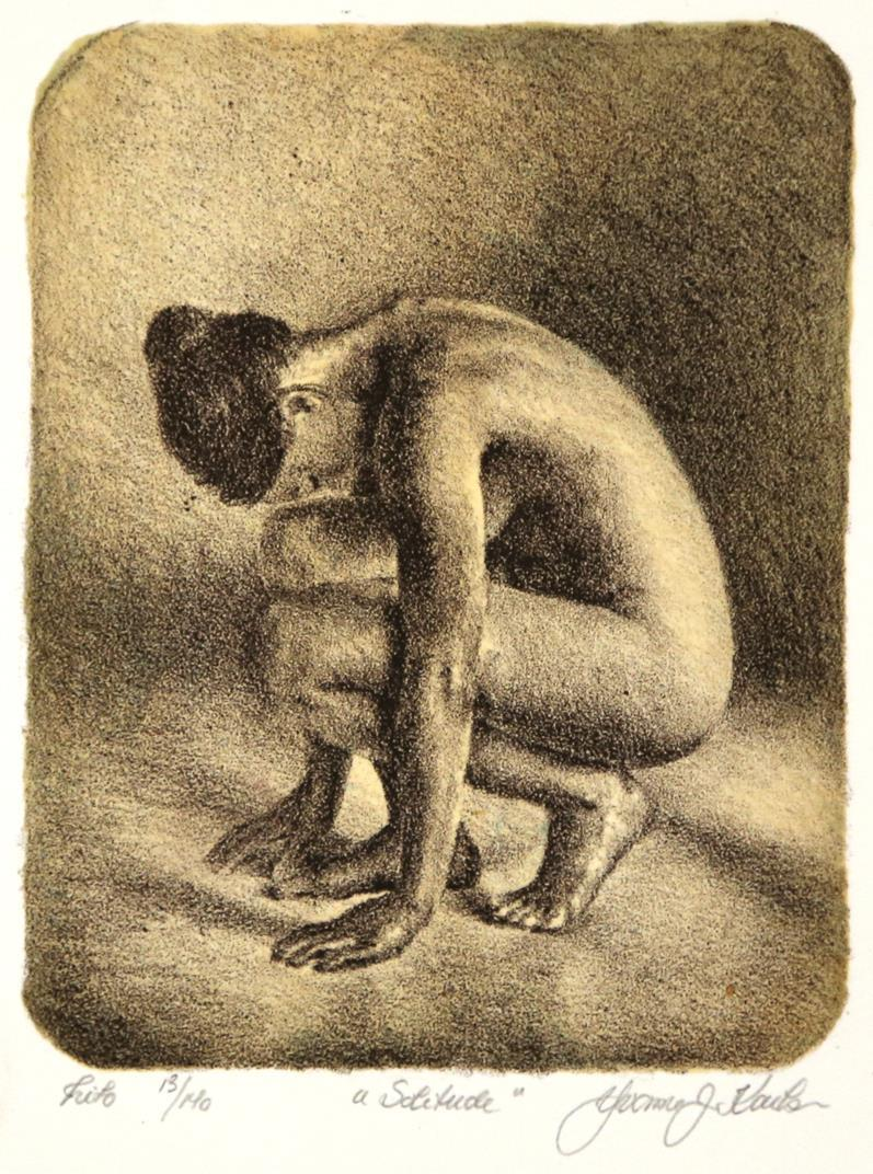 """""""Solitude"""", litografi, 14 x 18 cm."""