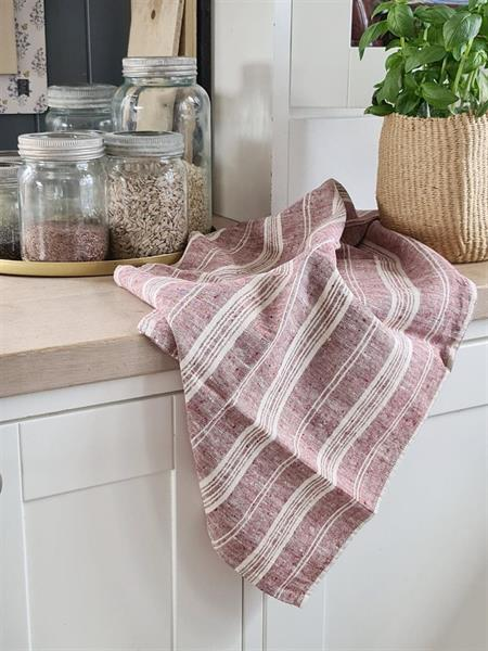 NICOLINE kjøkkenhåndkle i lin gammelrosa