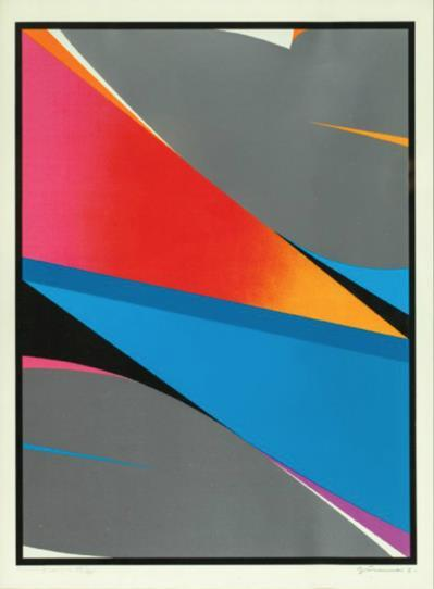 """Splitt"" Fargeserigrafi, 48 x 265, 71 x 57 cm."