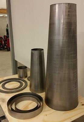 Cylindrar och konor samt laserskurna ringar