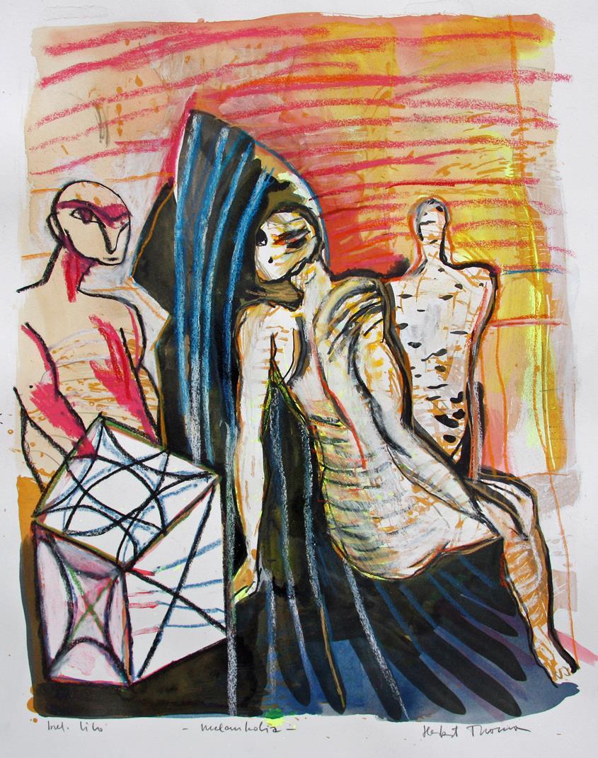 """Melankolia"" håndkolorert litografi 56 x 48 cm."