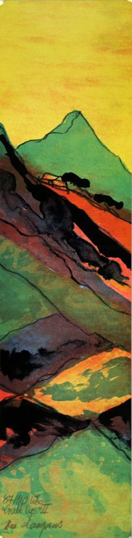"""""""Gult lys II"""", litografi 15 x 61 cm."""