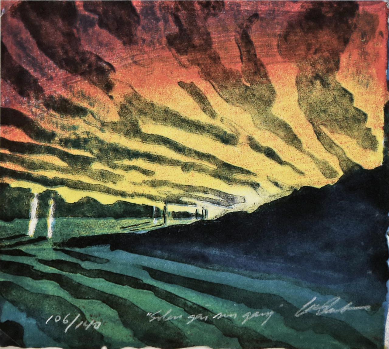 "Solen går sin gang"", litografi 15 x 16 cm."