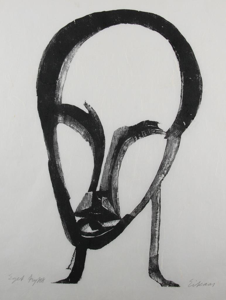 """""""Mannshode"""", xylografi, 1952, 50 x 30 cm."""