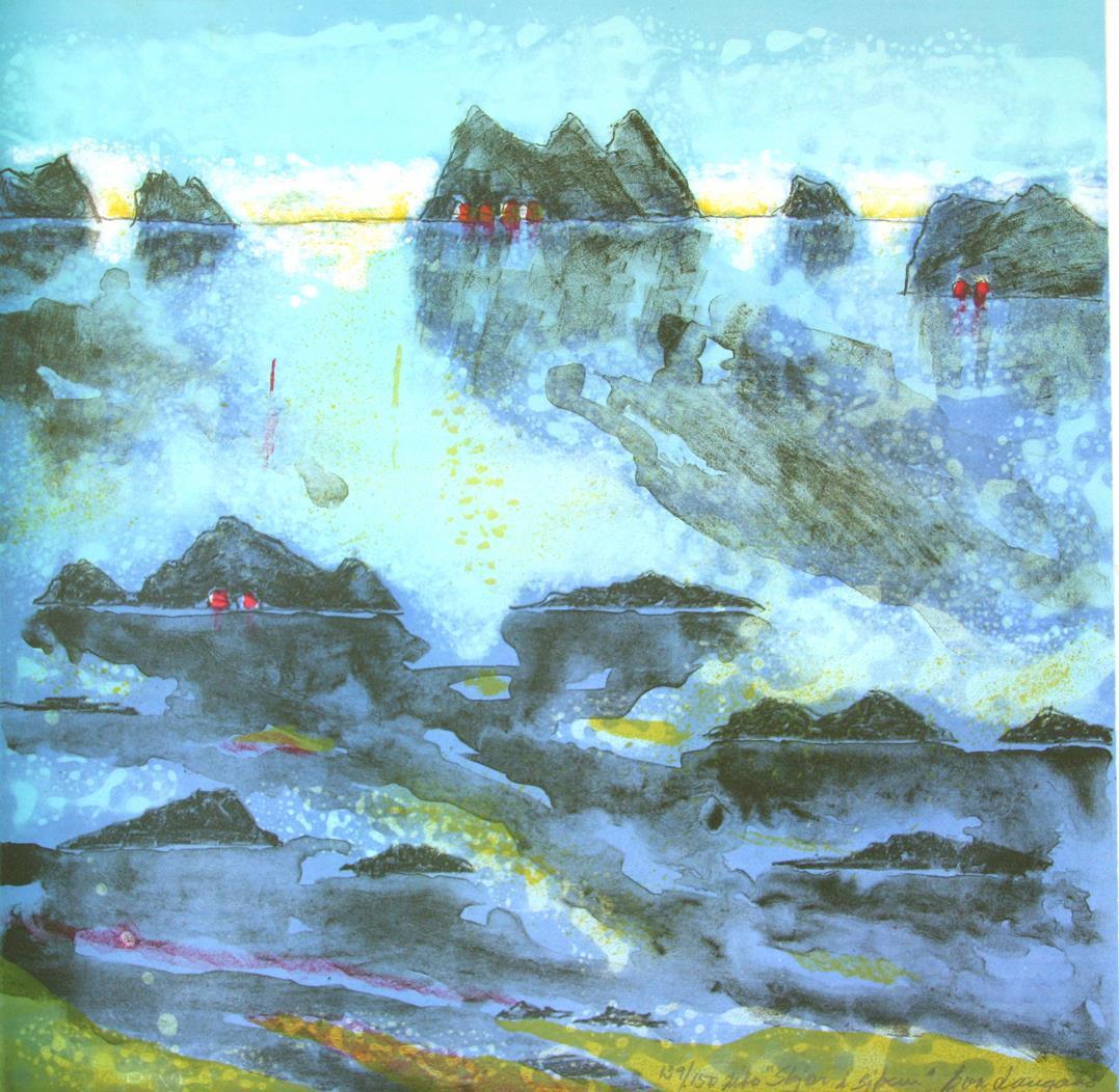 """""""Skjær i sjøen"""", litografi 60 x 60 cm."""