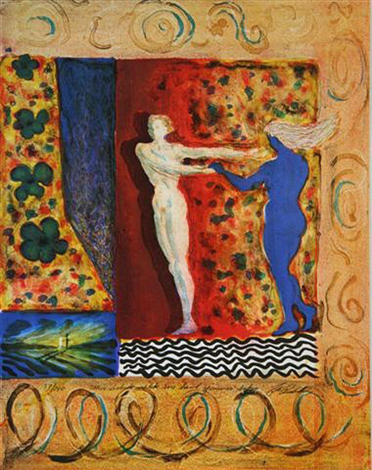 """""""Min elskede rakk sin hånd gjennom luken"""", litografi 47 x 37 cm."""
