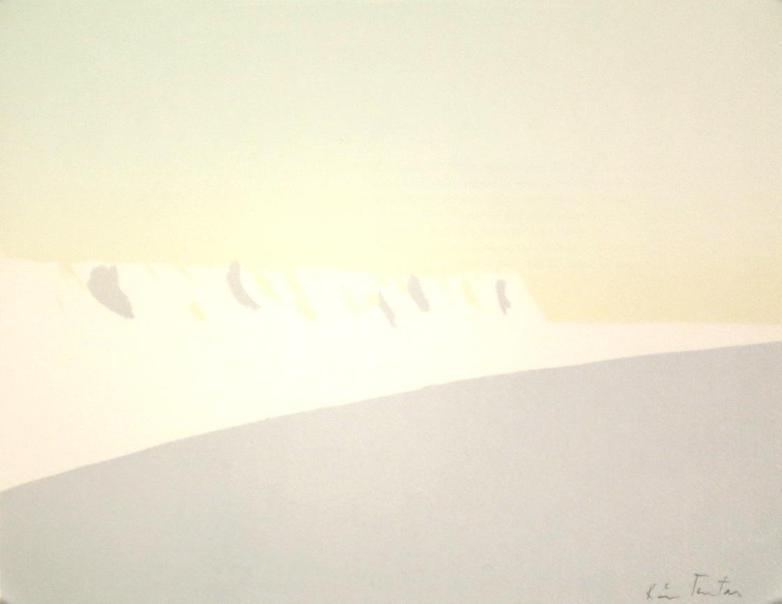"""""""Den første sneen"""", litografi, 23,5, x 29,5 cm."""