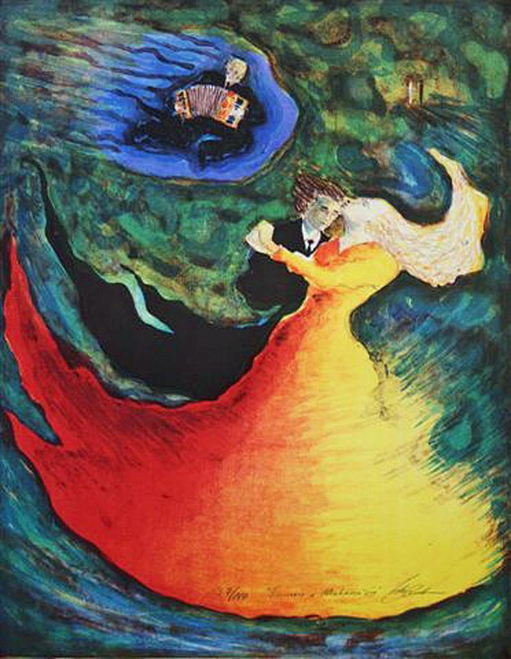 """Dansen i Mahana´in"", litografi, 47 x 37 cm."