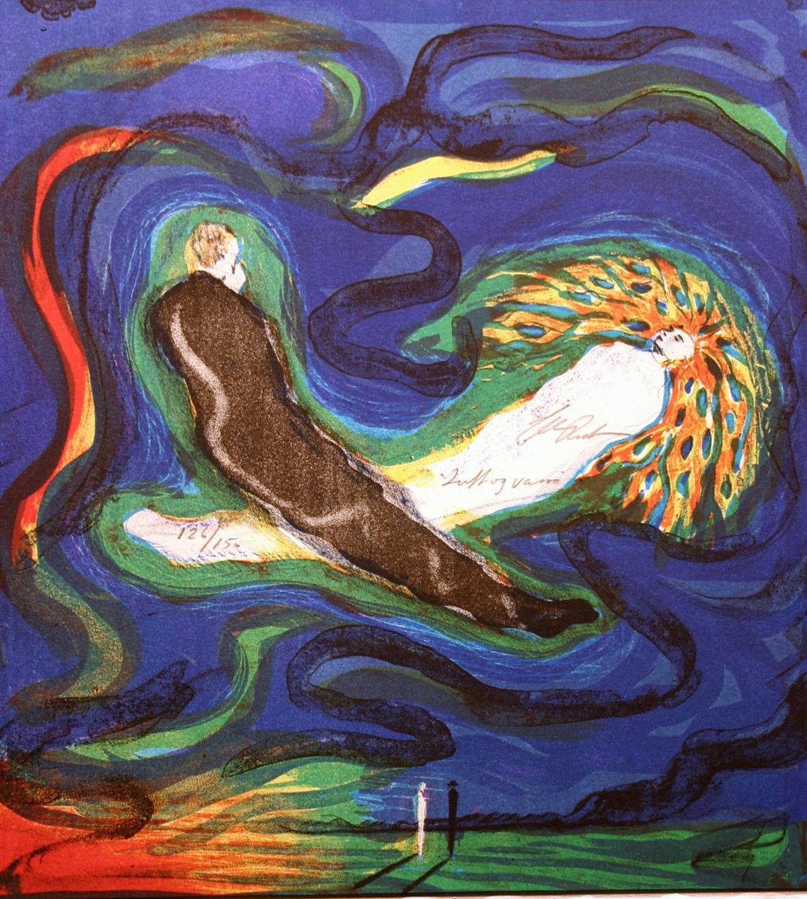 """""""Luft og vann"""", litografi 30 x 27 cm."""