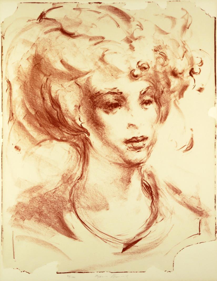 """""""Kvinne"""", litografi, Bjørn Ransve"""