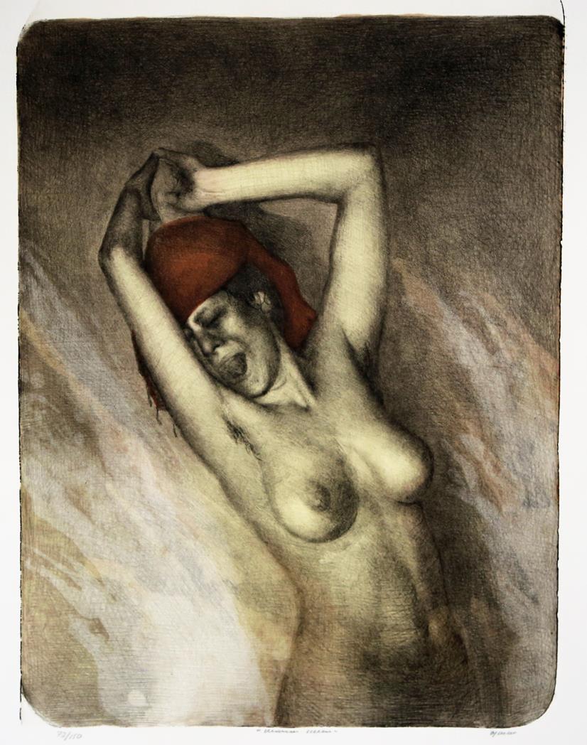 Woman Scream, litografi 45 x 33cm.