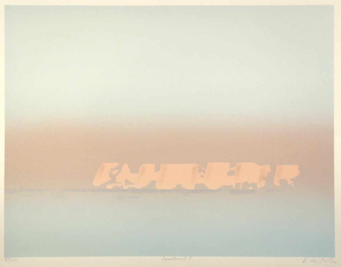 """Svalbard III"", håndkolorert silketrykk, 49,5 x 65 cm."