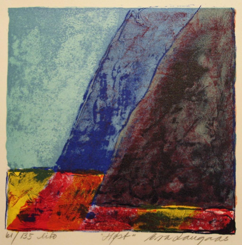 """Høst"", litografi 20 x 20 cm."