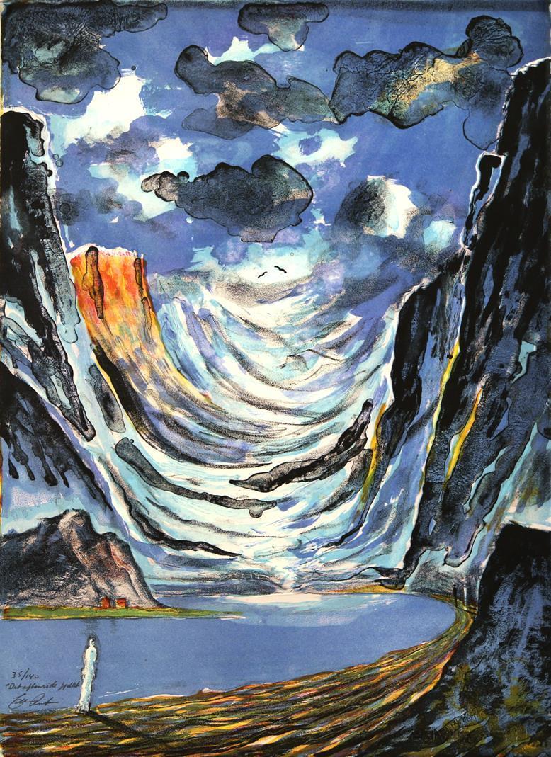 Det aftenrøde fjellet, litografi 61 x 44,5 cm.