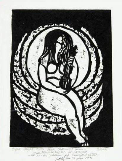 """""""Huldra med fele"""", linosnitt, eget trykk, 40 x 29 cm. med dedikasjon"""