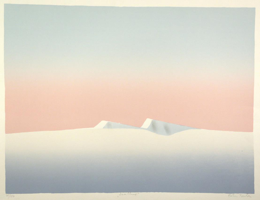 """Svalbard"", håndkolorert silketrykk, 49,5 x 65 cm."