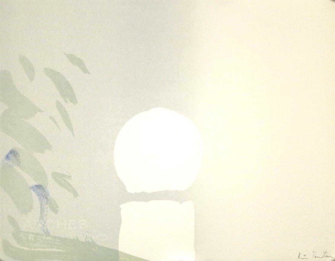 """""""Flak av lys"""" håndkolorert litografi, 29,5 x 29,5, cm., fra mappen flak av lyset"""