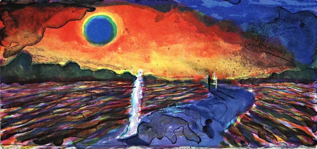 """Rød himmel"", litografi 15 x 32 cm."