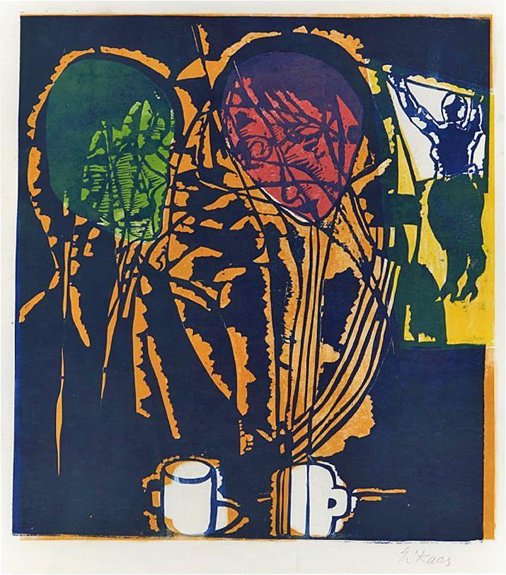 """Kaffe-slaberas"", farge-linosnitt på tynt papir 59 x 50 cm."