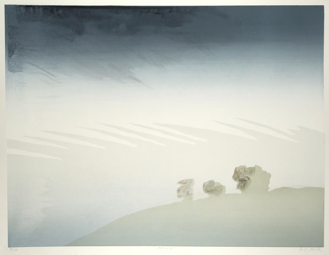 """Mot vinter"" håndkolorert silketrykk, 49 x 64,5 cm."