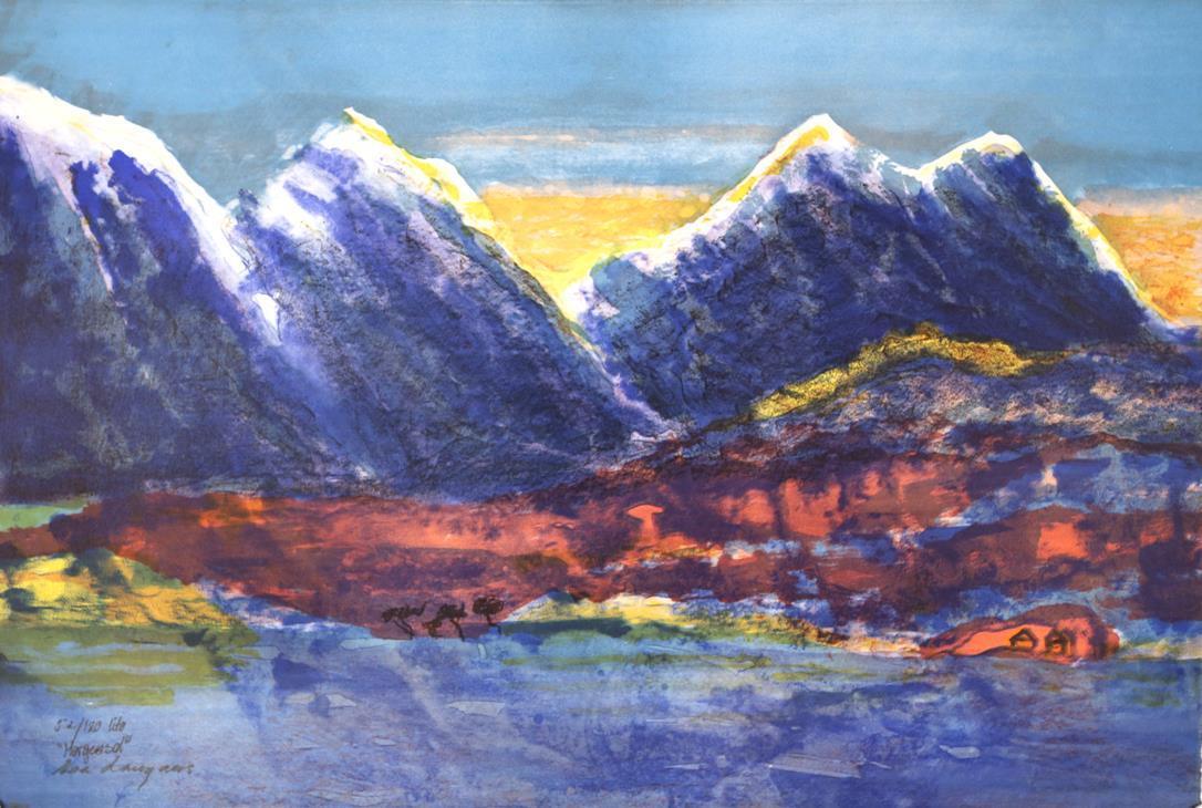 """""""Morgensol"""", litografi 60 x 90 cm."""
