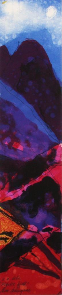 """""""Mørke fjell"""" litografi 61 x 13 cm."""