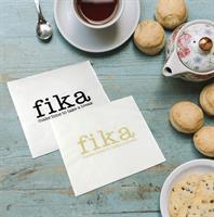 Servetter, Make time FIKA, vit/svart text, 25-p