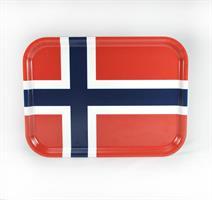 Bricka 27x20 cm, Norska flaggan