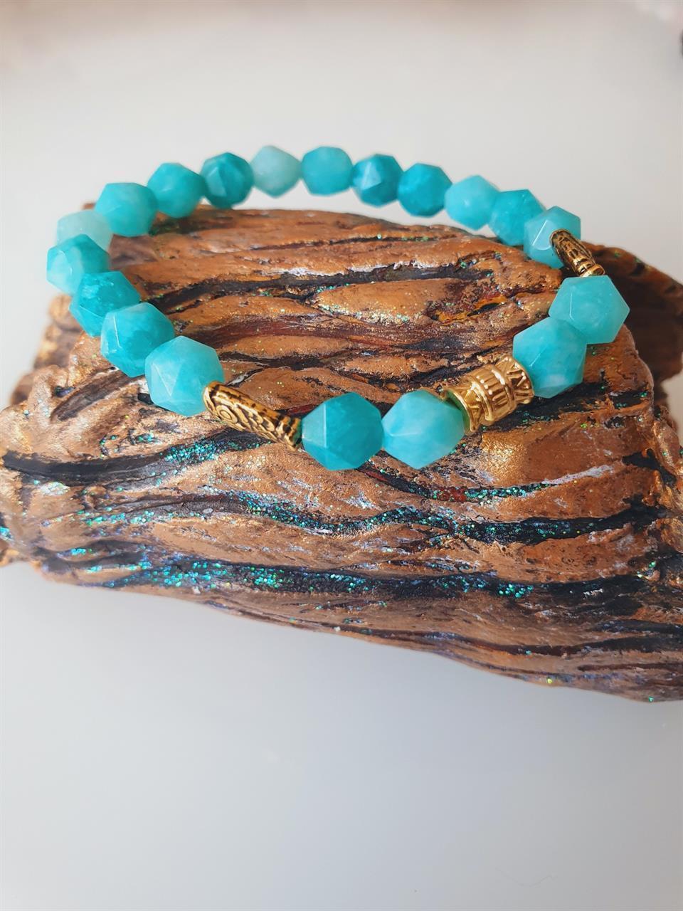 Pärlarmband dam Jade turquoise och uggla