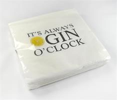 Servetter, Gin o'clock, vit/svart-gul, 25-p