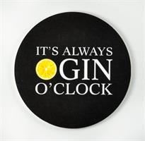 Glasunderlägg 4-p, Gin o'clock, svart/vit-gul text