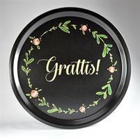 Bricka rund 31 cm, Grattis!, svart med blomkrans