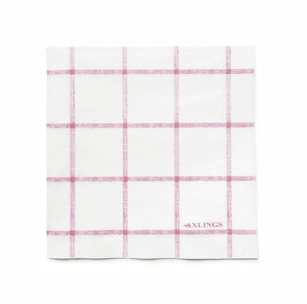 Pappservett Köksruta rosa