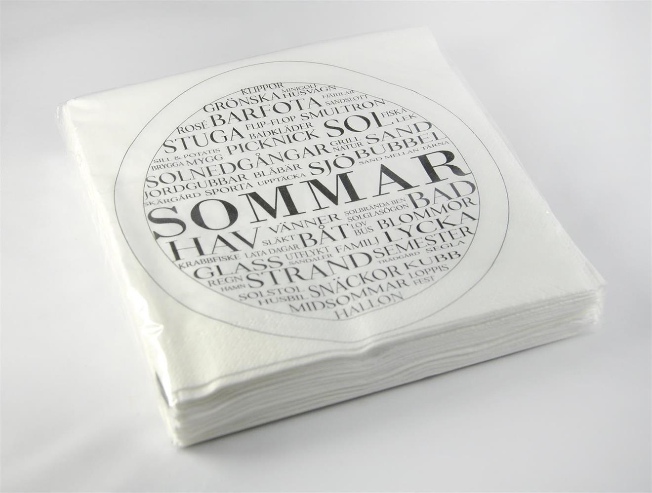 Servetter, Sommar, vit/svart text, 25-p