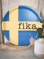 Bricka rund 31 cm, Make time FIKA, svenska flaggan