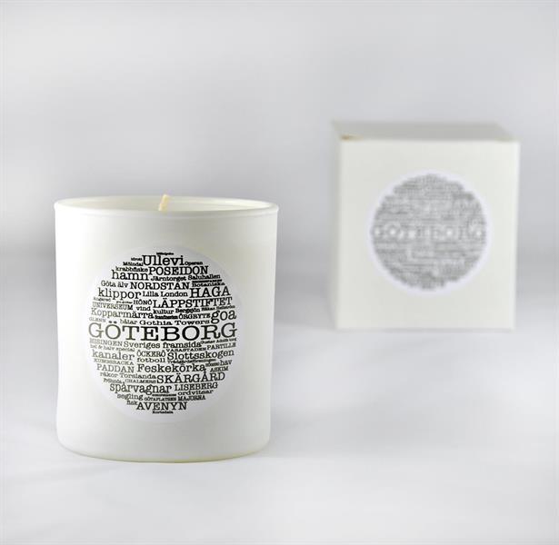 Doftljus, Göteborg, vit/svart text