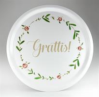 Bricka rund 31 cm, Grattis!, vit med blomkrans