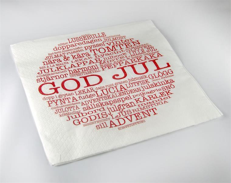 Servetter, God Jul-ord, vit/röd text, 20-p
