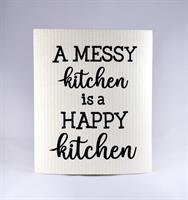 Disktrasa, A messy kitchen, vit/svart text