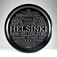 Bricka rund 31 cm, Helsinki, svart/vit text