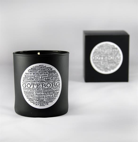Doftljus, Göteborg, svart/vit text