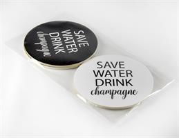 Glasunderlägg 4-p, Save water, svart-vit/vit-svart