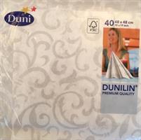 Dunilin servietter, hvite m/mønster 48cm 40stk.