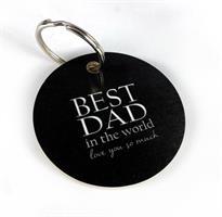 Nyckelring, Best Dad, svart/vit text