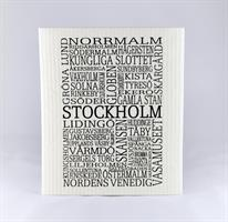Disktrasa, Stockholm, vit/svart text