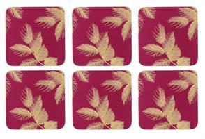 S. Miller etched leaves glassbrikker 6 stk vinrød